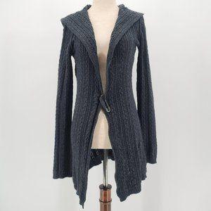 Cabi Dark Gray Knit Hooded Cardigan Sweater XS